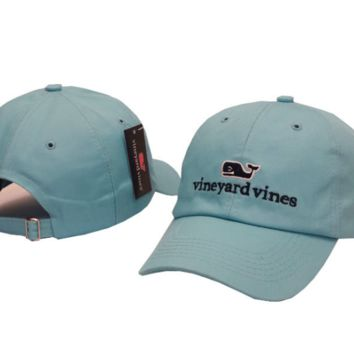 Sky Blue Vine yard Vines Whales Embroidered Cotton Hat Baseball Cap