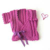 Little Girl Knit Shrug / Toddler Alpaca Sweater / Fuchsia Vest Bolero / Flower Girl Jacket / Kids Winter, Christmas Clothes / Ready To Ship