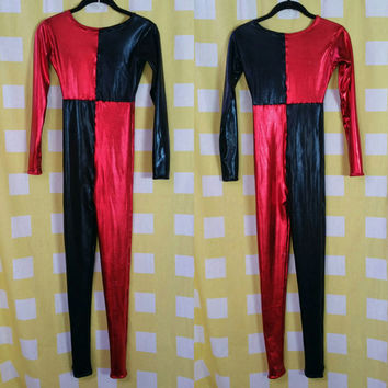 SAMPLE SALE RTS Harley Quinn Inspired Red And Black Metallic Jester Jumpsuit Costume