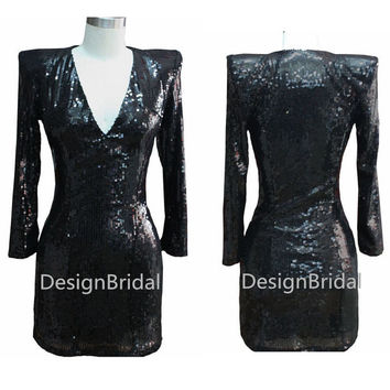 Sexy V Neck Sequin Celebrity Evening Dress,Cocktail Sexy Prom Dress with Sleeve,Sequined Homecoming Dresses,Shrug-shoulder Mini Party Dress