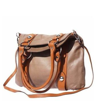GENUINE LEATHER PURSE WITH DOUBLE HANDLE AND REMOVABLE SHOULDER STRAP