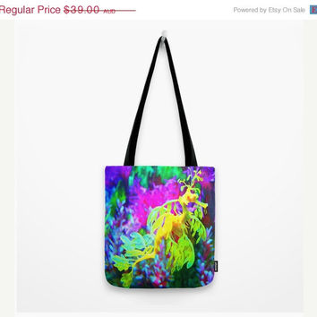 ON SALE Fine art Tote Bag seahorse aquatic sea life ocean double sided print