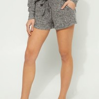 Black Hacci Knit Shorts