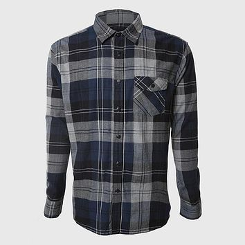 Men Plaid Shirts Long Sleeve Cotton Shirt Work Social Clothes Male Vintage Stylish Western Grey Navy Check Pattern
