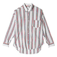 Striped Dip Hem Shirt (White) | STYLENANDA