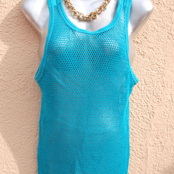 Vintage 90s mesh Tank Top in Turquoise Fishnet  Fabric  - Ultra sexy - Ghetto style- Unisex