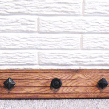 Wood Coat Rack * Reclaimed Wood * Black Knobs