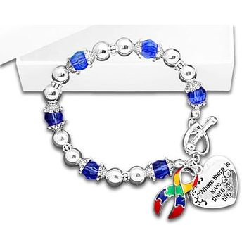 Autism and Aspergers Awareness Ribbon Bracelet - Where There Is Love