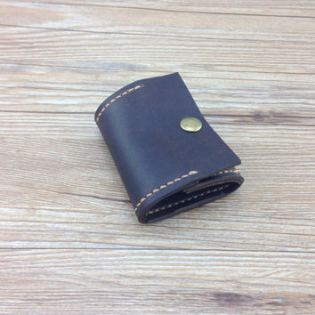 Womens coin purse, personalized  gifts, cute wallet woman, distressed leather wallet, minimalist wallet, womens brown leather wallet