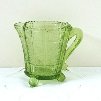 Green Glass Jug, Creamer, Pitcher or Ewer, Depression Glass, Pressed Glass, Vintage, posy, flower, Glassware, Tableware, homeware