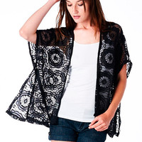 Black Crochet Dolman Cardigan