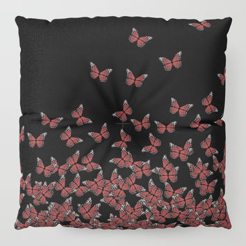 Butterflies, butterfly Horde ;) flying insects themed pattern, red and black, vector design Floor Pillow by Casemiro Arts - Peter Reiss