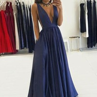 V neck Pleated Navy Blue Prom Dress, Navy Blue Evening Dress
