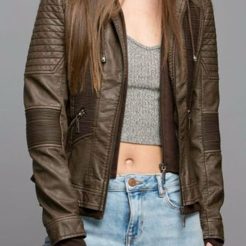 Ribbed Vegan Leather Jacket in Coffee
