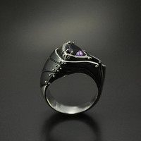 "SALE -20% Silver Industrial Steampunk Ring ""Gaudeondum"" with Amethyst"