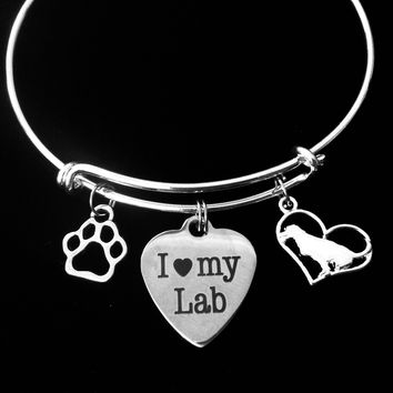 Labrador Retriever Jewelry I Love My Lab Dog Expandable Charm Bracelet Silver Adjustable Wire Bangle Paw Print Pet Animal Lover