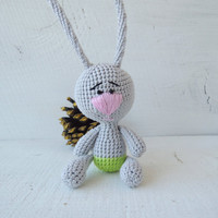Crochet Art Doll Small Funny Bunny, Cute stuffed animal, Soft toys for baby, Holiday gift kids, Unique birthday gift, Unusual handmade dolls