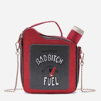Embroidery letters gasoline bottle shape bright chain handbag shoulder bag ladies purse flap totes