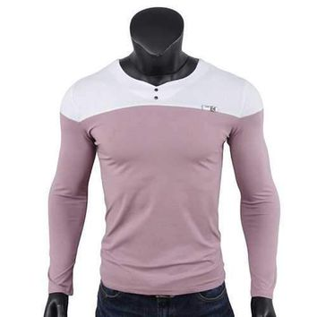Mens Contrast Color Slim Fit V-Neck Long Sleeve T-Shirt