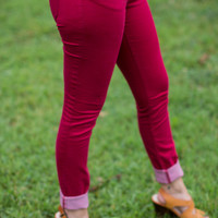 Classic City Skinnies in Burgundy