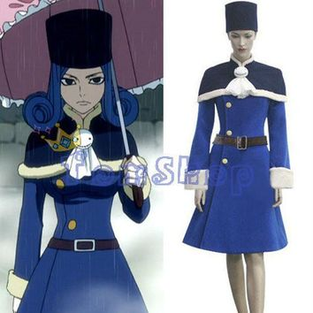 Free Shipping Fairy Tail Juvia Loxar Cosplay Dress Costume Custom Made Women's Halloween Costumes Whole Set