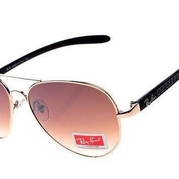 Ray Ban Aviator Carbon Fibre RB8307 Brown Rose Gold Sunglasses