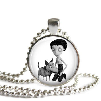 Frankenweenie Necklace Victor and Sparky Silver Plated Picture Pendant