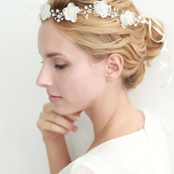 Flower hair wreath, lace wreath, grecian, bridal halo, wedding headband, hair - style 210