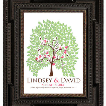 spring fingerprint tree guest book, WEDDING SIGNATURE TREE guest book, summer tree, Thumbprint guestbook, Wedding Tree, 13x19 num.120