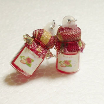 Jar of Strawberry Jam Earrings Polymer Clay by GiraffesKiss