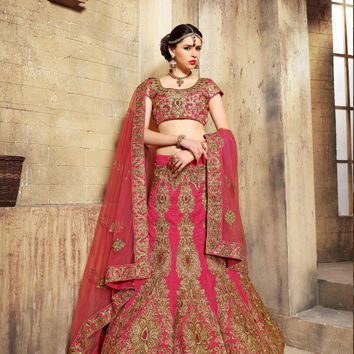 Women's Dupioni Raw Silk Fabric & Pink Pretty A Line Lehenga Style