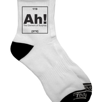 Ah the Element of Surprise Funny Science Adult Short Socks  by TooLoud