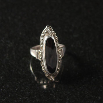 Onyx Ring, Sterling Silver, Marcasite, Size 7, Vintage Jewelry, 925 Ring, Sterling Marcasite, Black Ring, Estate Jewelry,  Art Deco