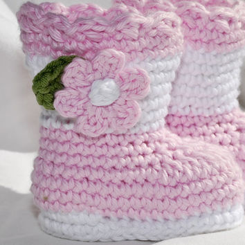 Crochet baby girl boots booties shoes pink by BitofWhimsyCrochet