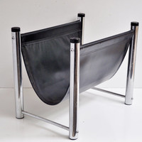 Vinyl and Chrome Mid-Century Magazine Rack