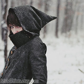 Assassin's Creed Photography, Winter Portrait Fine Art Print, Mysterious Girl Wall Art, Winter Decor, Goblin Hood Art