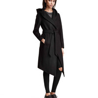 Black Belted Asymmetric Coat with Hood