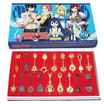 Fairy Tail 18pcs/set Keychain Lucy Key chain Scale Free Pink Tattoo Heartfilia sign of the zodiac gold Key Free Shipping