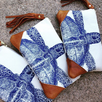 Ocean print, turtle clutch with wrist strap, best selling