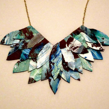 Turquoise Leather Feather Necklace