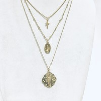 Cross Triple Layered Necklace