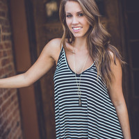 Simple Stripe Sundress in Black