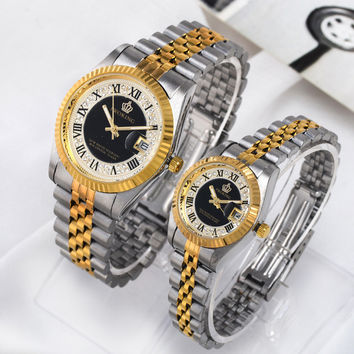 Gift Trendy Good Price New Arrival Awesome Great Deal Designer's Crown Roman Stainless Steel Band Stylish Casual Noctilucent Couple Watch [4919937028]