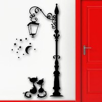 Wall Stickers Vinyl Decal Lantern Cats Animal Vintage Street Decor Unique Gift (ig1028)