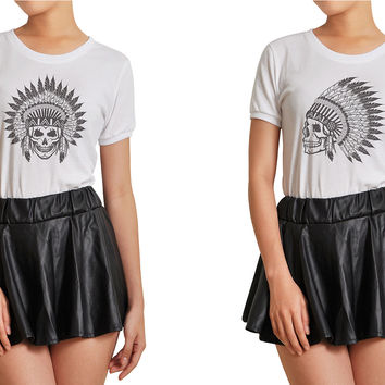 Women Skull wear indian headdress Printed T-shirt WTS_07