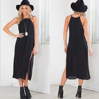 Black Spaghetti Strap Side Slit Chiffon Dress