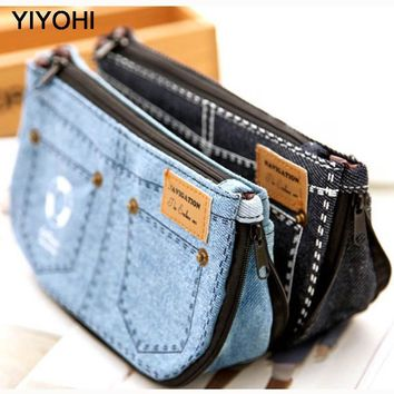 YIYOHI New high Quality Women's Jean Cosmetic Makeup Bag Canvas Travel Storage Pouch Multifunction Case Purse Mini Handbag