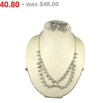 Draped Crystal Necklace Earrings Set Silver Tone