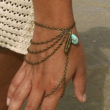 PEAPUG3 Bohemian Style Multi Chain Turquoise Bead Leaf Finger Ring Slave Bracelet = 1928541892