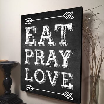 Eat Pray Love Digital Printed Wood Pallet Design on Wood Rustic Wall Art 11x16